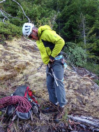 Matt gearing up for rappel at the top of the cliff.