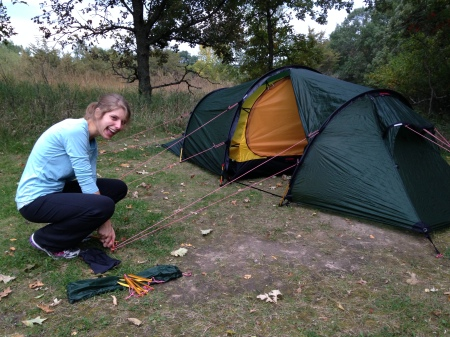 Liz setting up the brand-new Hilleberg tent on its first test run. Huge vestibules are the best!