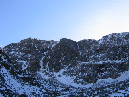 The first view of Gran Carambano at the far end of the cirque.