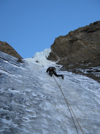 Me leading up the first pitch of The Moratorium. It wasn't very hard climbing, but the ice was thin - I could only place two 10cm ice screws in the first 40 meters.