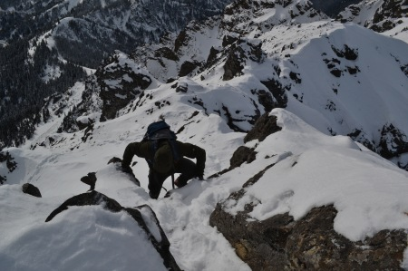 My brother Matt making the final moves to the summit of Mount Angeles.