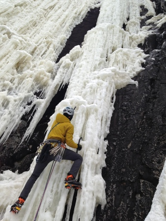 A scary lead on the Reflection Wall, WI5. It was steep and the whole way, and the ice was hollow, sun-leeched crap.