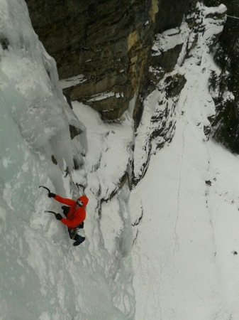 Leading the last pitch of a WI5+/6 route we did as a team. Kris caught this shot on rappel as he and Magdalena were coming down.