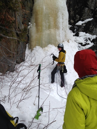 "Ready to warm up on the route ""Ten Percent Real"" (WI5) for my first climb in Nipigon."