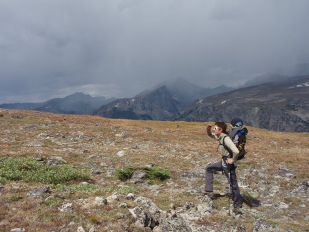 Loren checking the weather on the plateau as the wind started to gust and the first storm clouds rolled in.