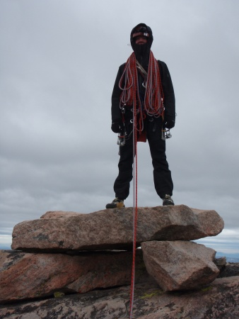 On the summit block of Granite Peak after a seven hour ascent of the Chadwick-Bowman.