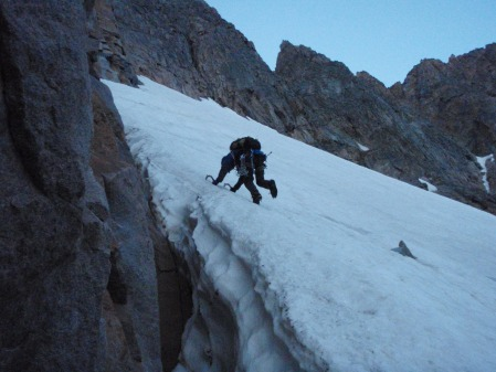 Loren working his way up the final 100 meters of ice.