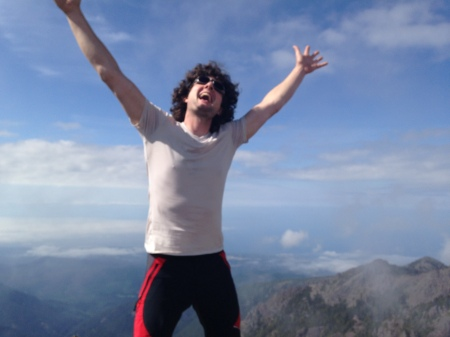 Trying my best to equal (or surpass?) Kelly's summit pose. Kelly said I looked like psychedelic Jesus.