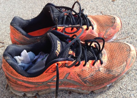 My running shoes AFTER a round of cleaning and scraping. It was a muddy race.