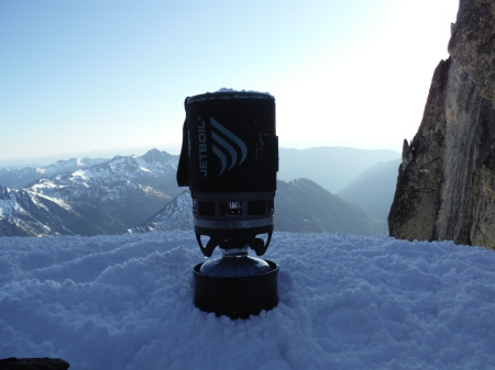 My trusty Jetboil at the top of the Stuart Glacier Couloir...the highest Jetboil in WA?