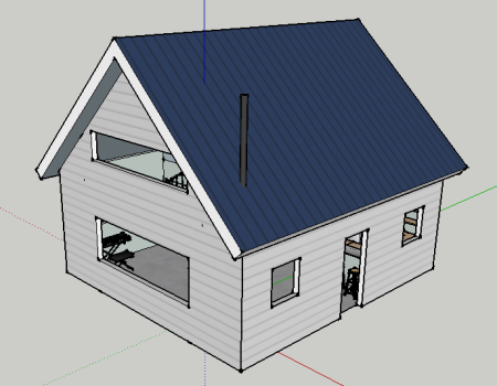 Simple and inexpensive are my goals. The ground floor is about 530 square feet, and the lofted bedroom area will be about 230 with storage built into the knee walls.