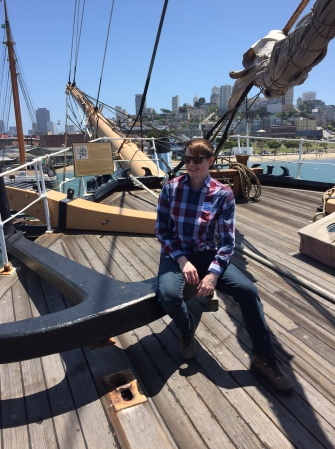 Nate on board one of the old, wooden ships moored at Fisherman's Wharf in San Francisco.
