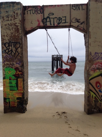 A makeshift swing at a beautiful, deserted beach about 10 miles north of Santa Cruz.